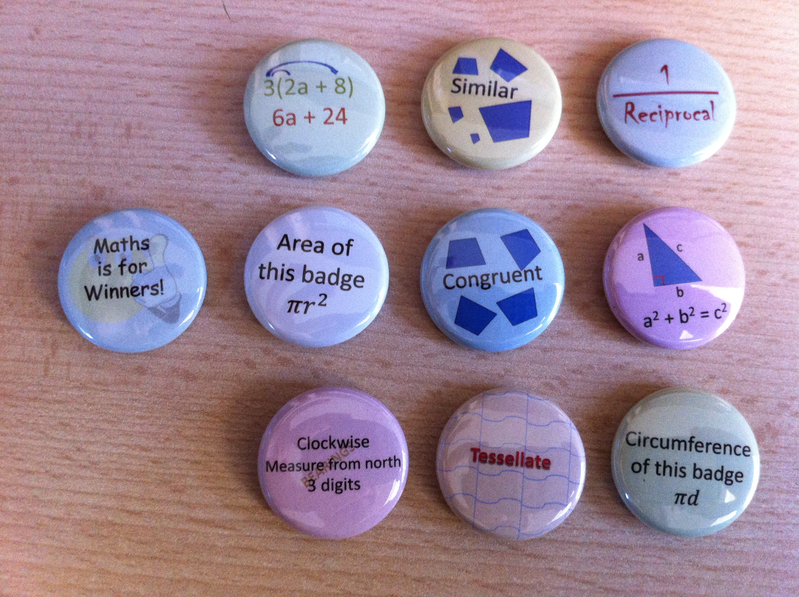 Maths badges