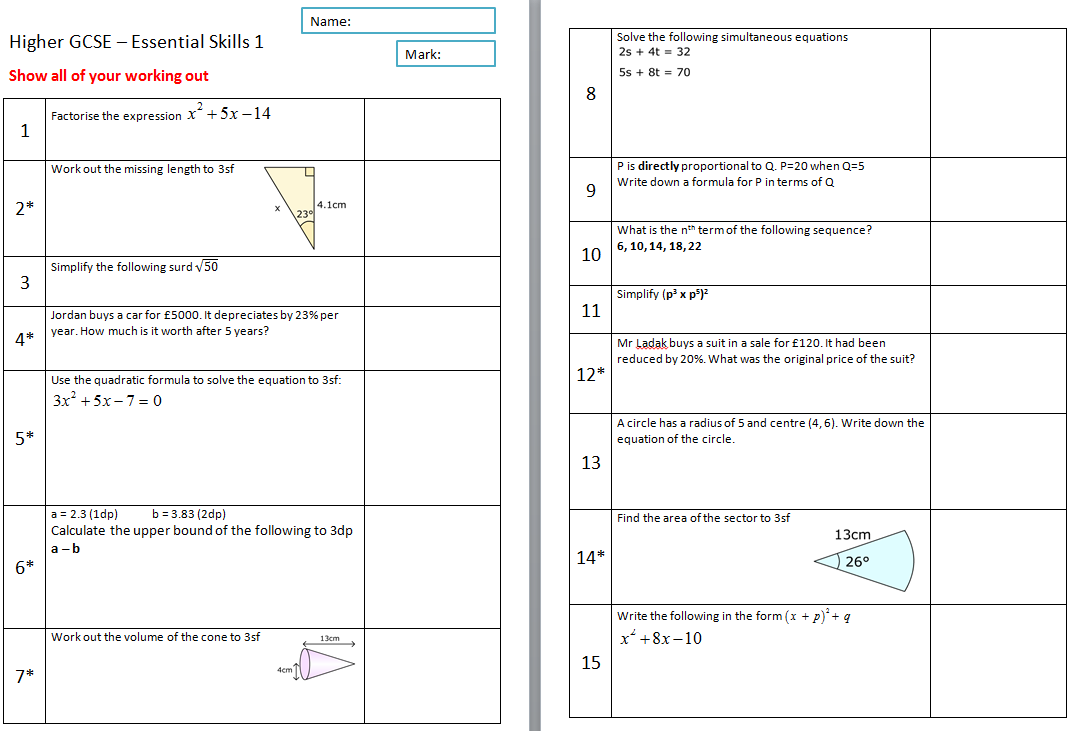 math worksheet : essential skills higher gcse  mathedup! : Maths Revision Worksheets