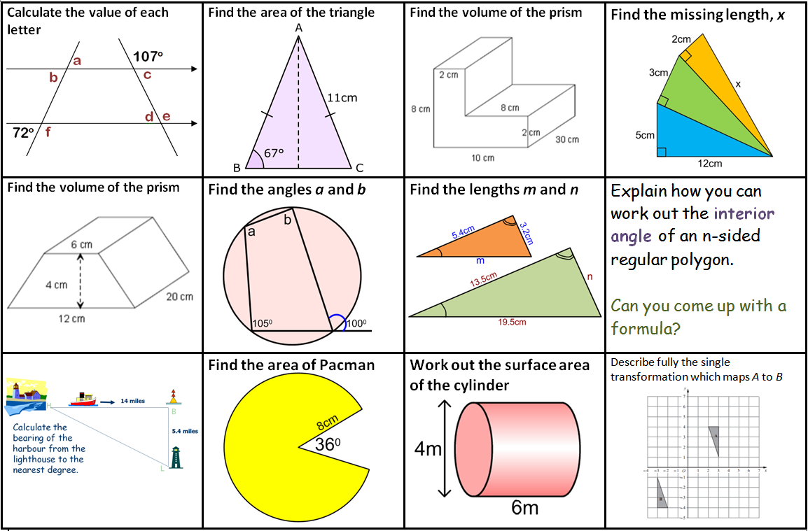 gcse revision mats  mathedup shape b grade